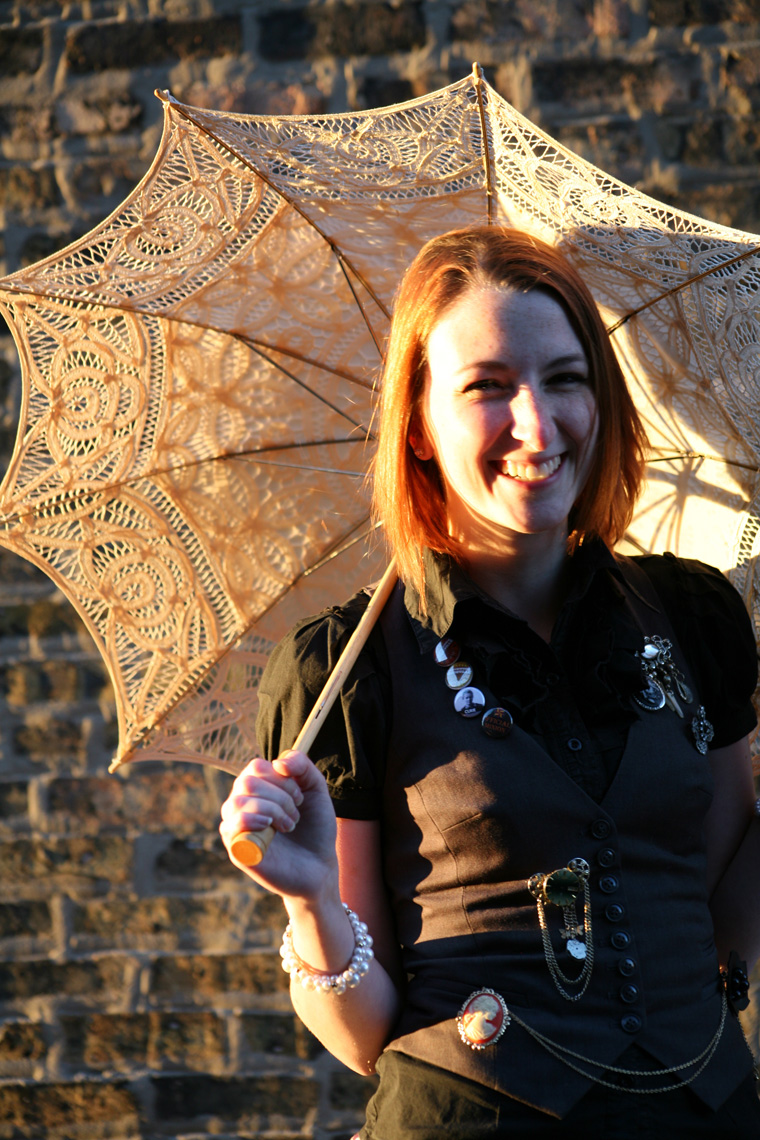 lauren steampunk smiling with umbrella