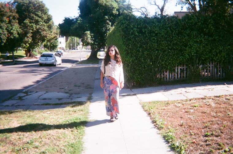 walking on a street sidewalk